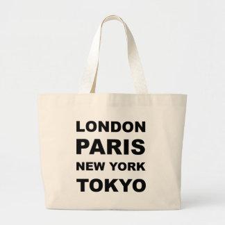 London, Paris, New York, Tokyo. Bags