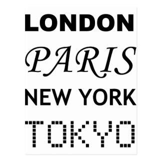 London, Paris, New York, Tokyo. Postcard