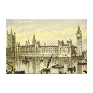 London Parliament Big Ben Thames Westminster 1800s Canvas Print