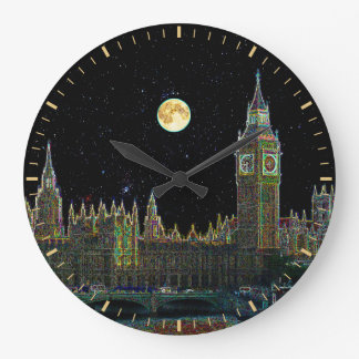 London Parliament Skyline At Night With Fool Moon Large Clock