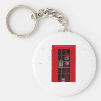 LONDON PHONE BOOTH BASIC ROUND BUTTON KEYCHAIN