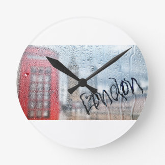London Phone Booth Graffiti Round Clock