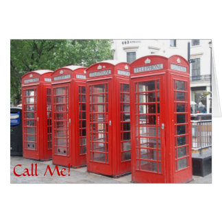"""London Phone Booth greeting card with """"Call Me"""""""