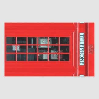 London Phone Booth Rectangular Stickers