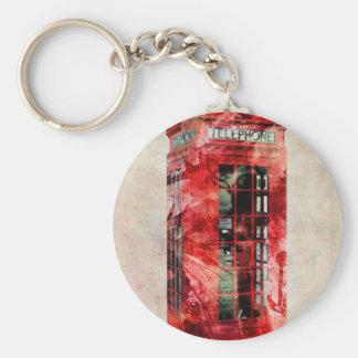 London Phone Box Basic Round Button Keychain