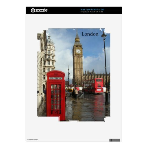 London Phone box & Big Ben (St.K) Decals For iPad 2