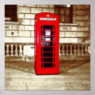 London Phone Box (poster edge effect) Poster