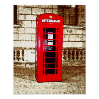 London Phone Box (poster edge effect) Poster