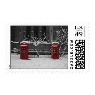 London Phoneboxes in the Snow Postcard Postage Stamp