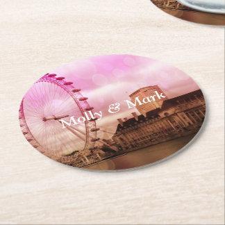 london,pink effekt round paper coaster