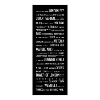 London popular places on a typographic poster