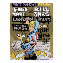 artsprojekt, london postcard, jim, mahfood, food, one, 40oz, comics, clerks, grrl scouts, colt 45, stupid, page, filler, man, live art, live, art, z-trip, murs, felt, true, tales, underground, hip, hop, sarah, silverman, program, frenchpulp, mahf, earthworms, comic, books., jim mahfood, jim mahfood skateboards, food one skateboards, 40 oz comics skateboards, food one, 40 oz comics, Cartão postal com design gráfico personalizado