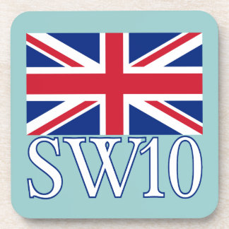 London Postcode SW10 with Union Jack Coaster