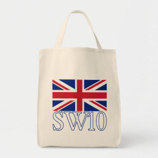 London Postcode SW10 with Union Jack Tote Bag