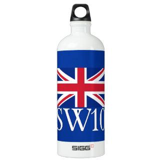 London Postcode SW10 with Union Jack Water Bottle