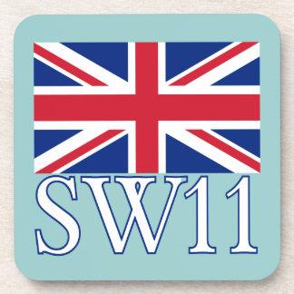 London Postcode SW11 with Union Jack Coasters