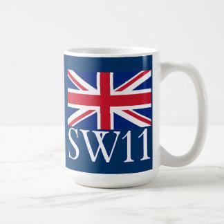 London Postcode SW11 with Union Jack Coffee Mug