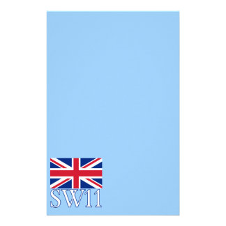 London Postcode SW11 with Union Jack Stationery