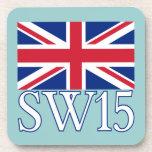 London Postcode SW15 with Union Jack Beverage Coaster