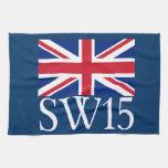London Postcode SW15 with Union Jack Kitchen Towels