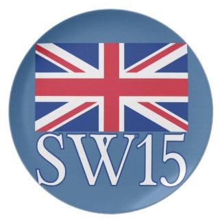 London Postcode SW15 with Union Jack Plate