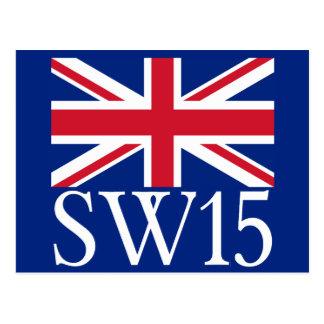 London Postcode SW15 with Union Jack Postcard