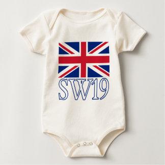 London Postcode SW19 with Union Jack Baby Bodysuit