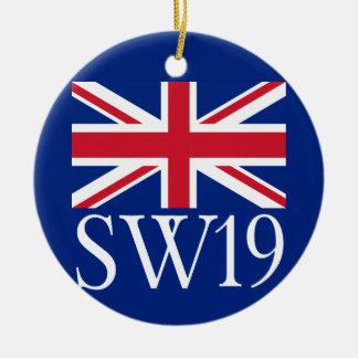 London Postcode SW19 with Union Jack Ceramic Ornament