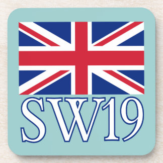 London Postcode SW19 with Union Jack Coaster