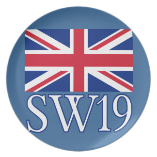 London Postcode SW19 with Union Jack Dinner Plate