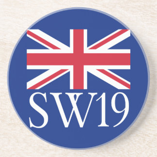 London Postcode SW19 with Union Jack Drink Coaster