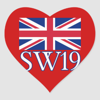 London Postcode SW19 with Union Jack Heart Sticker