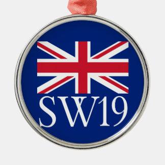 London Postcode SW19 with Union Jack Metal Ornament