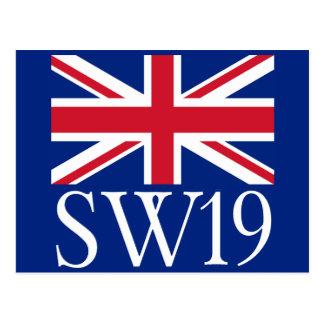 London Postcode SW19 with Union Jack Postcard
