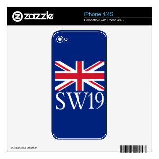 London Postcode SW19 with Union Jack Skin For The iPhone 4