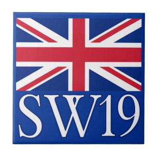 London Postcode SW19 with Union Jack Tile