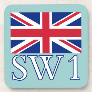 London Postcode SW1 with Union Jack Coaster