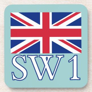 London Postcode SW1 with Union Jack Coasters
