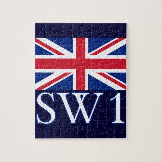 London Postcode SW1 with Union Jack Jigsaw Puzzle