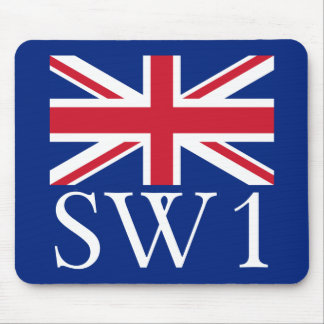 London Postcode SW1 with Union Jack Mouse Pad