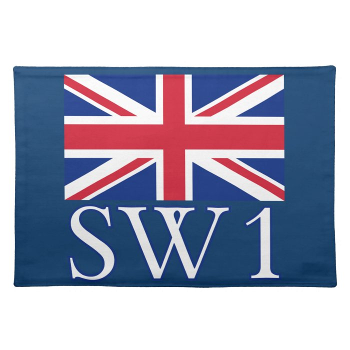 London Postcode SW1 with Union Jack Placemat