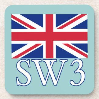 London Postcode SW3 with Union Jack Coasters