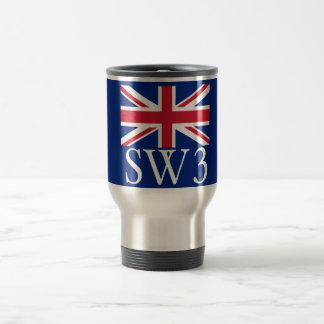 London Postcode SW3 with Union Jack Travel Mug