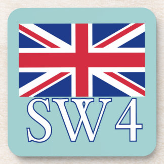 London Postcode SW4 with Union Jack Beverage Coaster