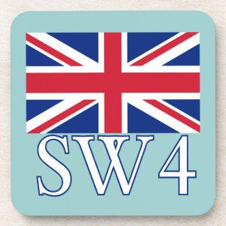 London Postcode SW4 with Union Jack Beverage Coaster