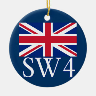 London Postcode SW4 with Union Jack Ceramic Ornament