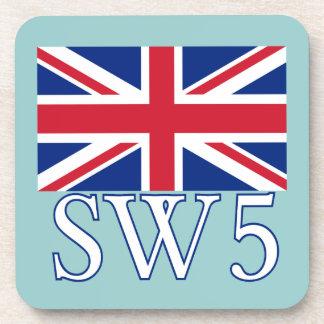 London Postcode SW5 with Union Jack Drink Coasters