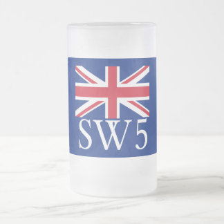 London Postcode SW5 with Union Jack Frosted Glass Beer Mug