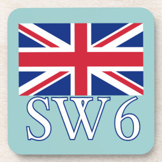 London Postcode SW6 with Union Jack Coaster