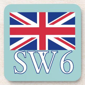 London Postcode SW6 with Union Jack Coasters